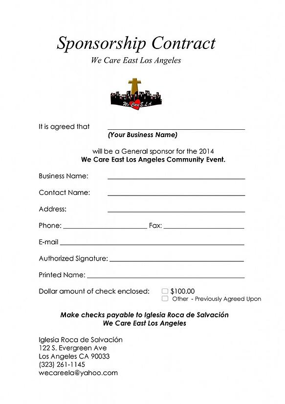 We Care ELA Sponsorship form
