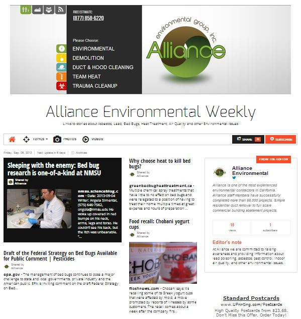 Alliance Environmental Weekly cover