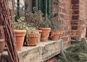 Pots on a Ledge